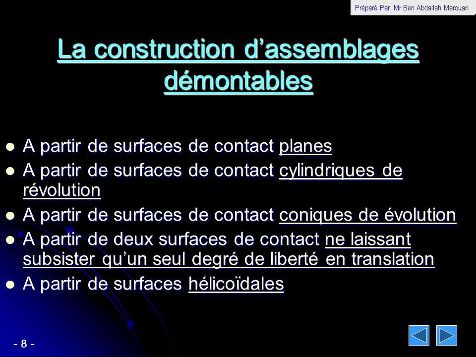 La construction d'assemblages démontables