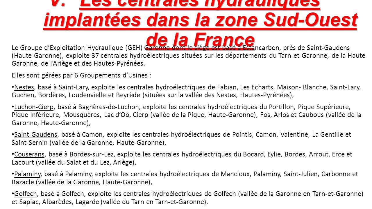 Les centrales hydrauliques implantées dans la zone Sud-Ouest de la France