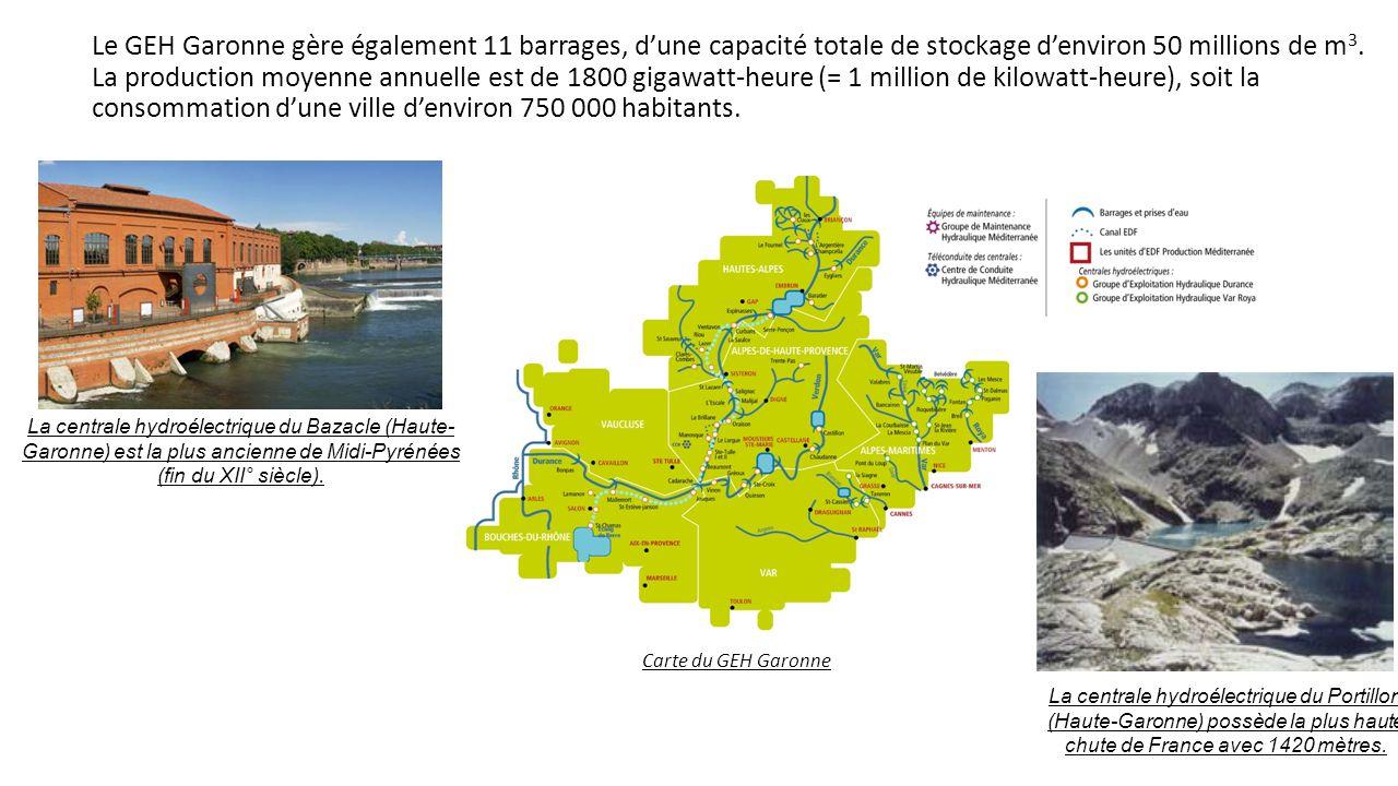 Le GEH Garonne gère également 11 barrages, d'une capacité totale de stockage d'environ 50 millions de m3. La production moyenne annuelle est de 1800 gigawatt-heure (= 1 million de kilowatt-heure), soit la consommation d'une ville d'environ 750 000 habitants.