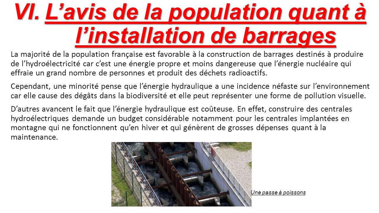 L'avis de la population quant à l'installation de barrages