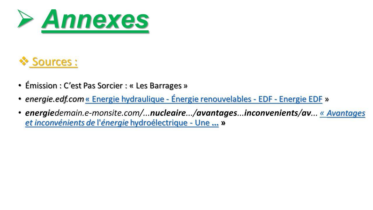 Annexes Sources : Émission : C'est Pas Sorcier : « Les Barrages »