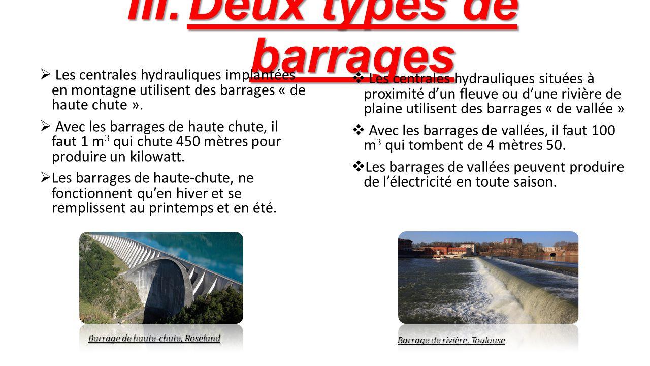 Deux types de barrages Les centrales hydrauliques implantées en montagne utilisent des barrages « de haute chute ».