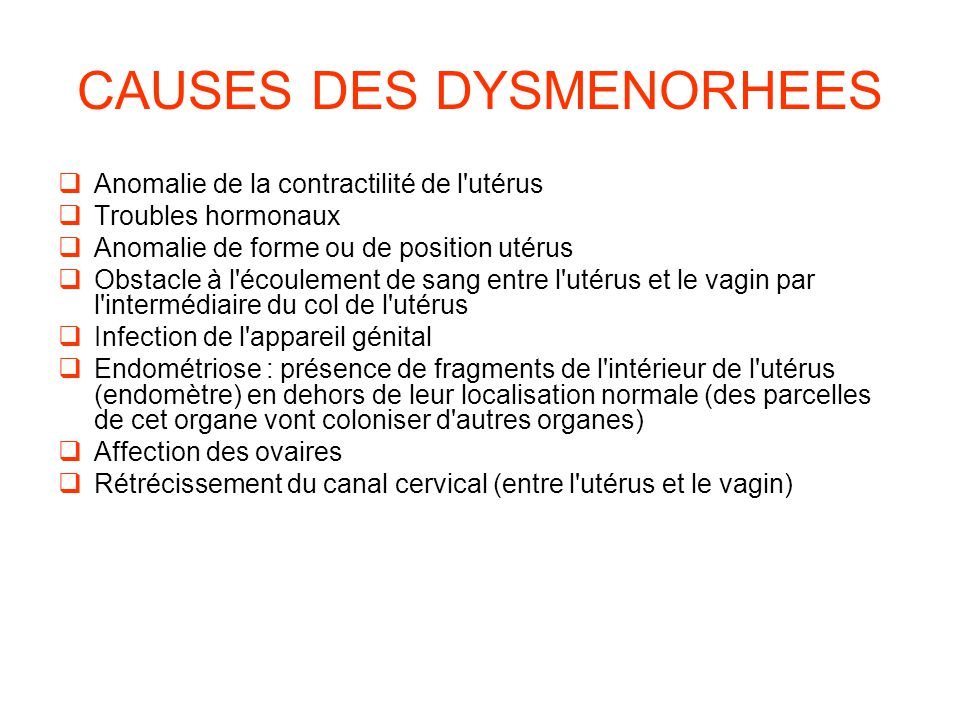 CAUSES DES DYSMENORHEES
