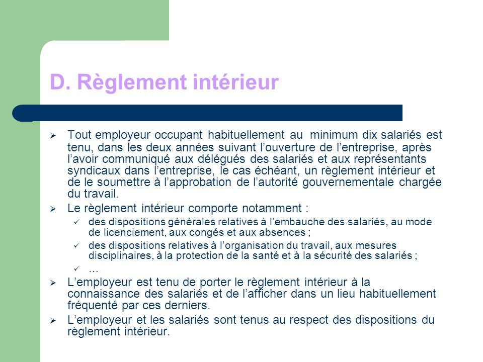 Definition de reglement interieur 28 images reglement for Interieur definition