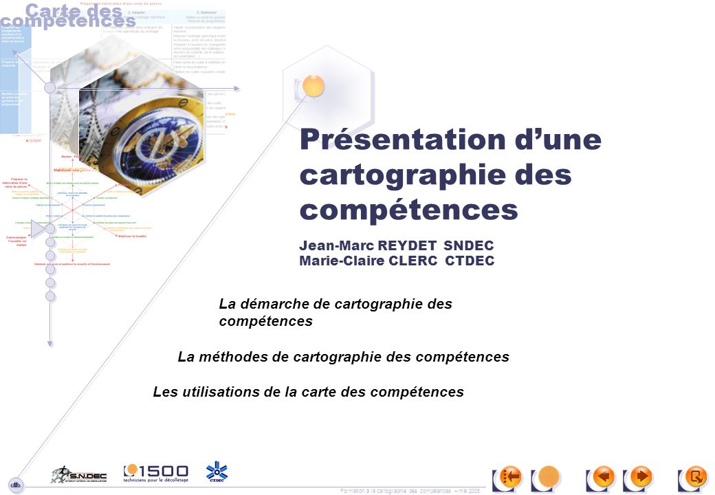 Carte des compétences. Présentation d'une cartographie des compétences Jean-Marc REYDET SNDEC Marie-Claire CLERC CTDEC.