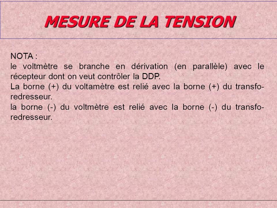 MESURE DE LA TENSION NOTA :