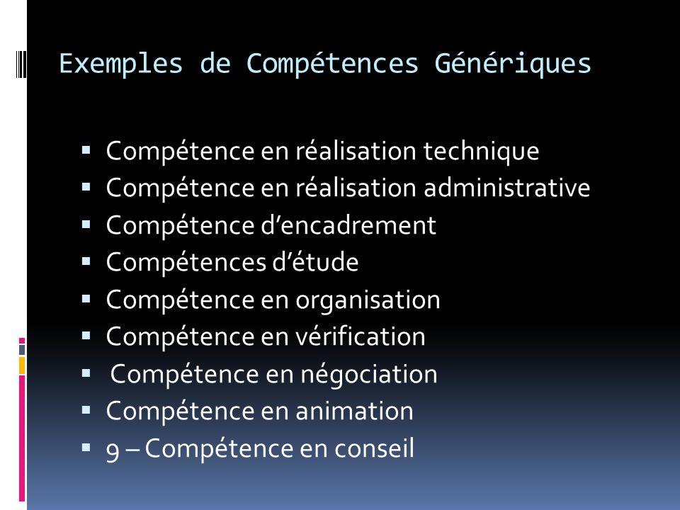 Exemples de Compétences Génériques
