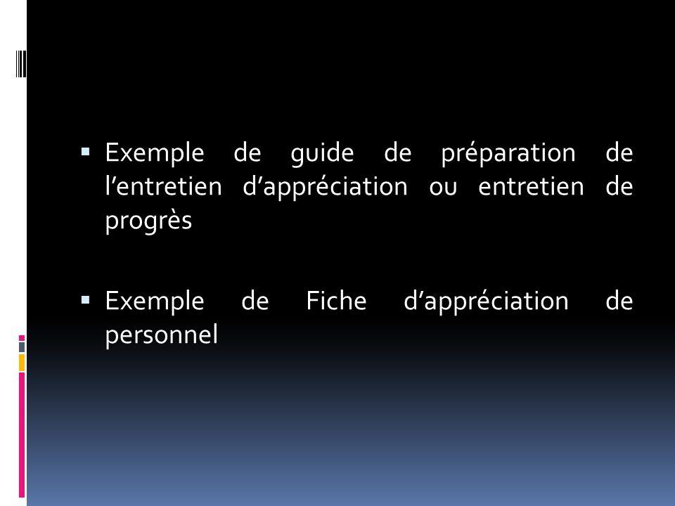 Exemple de guide de préparation de l'entretien d'appréciation ou entretien de progrès