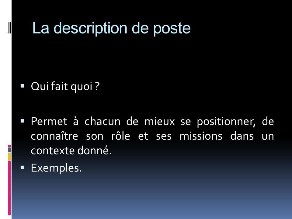 La description de poste