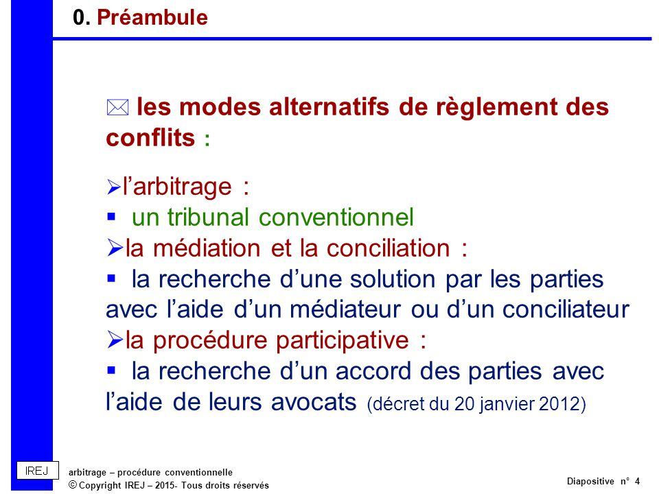 Arbitrage procedure conventionnelle ppt t l charger - Mediation et conciliation ...