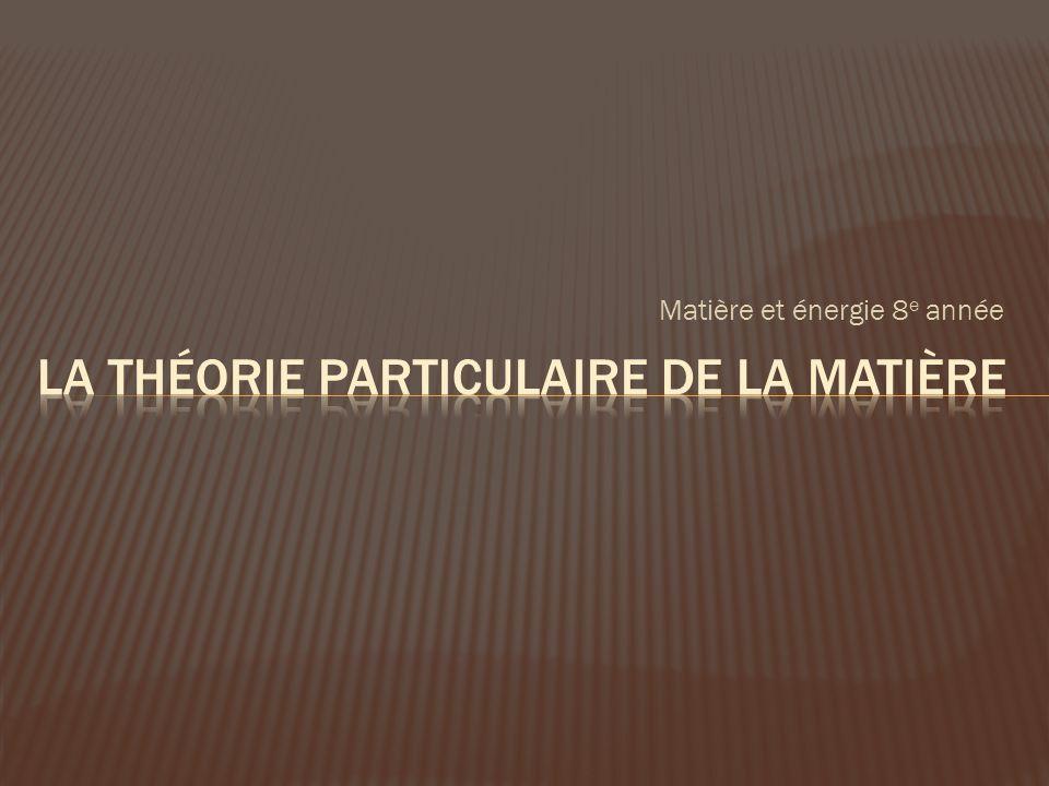 La théorie particulaire de la matière