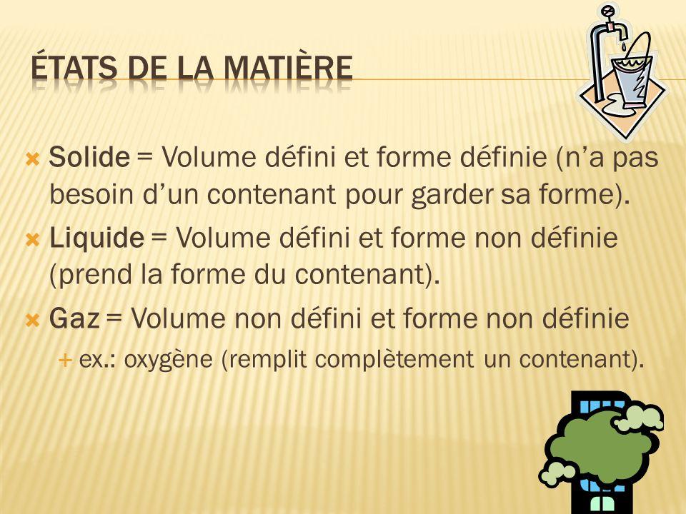 États de la matière Solide = Volume défini et forme définie (n'a pas besoin d'un contenant pour garder sa forme).