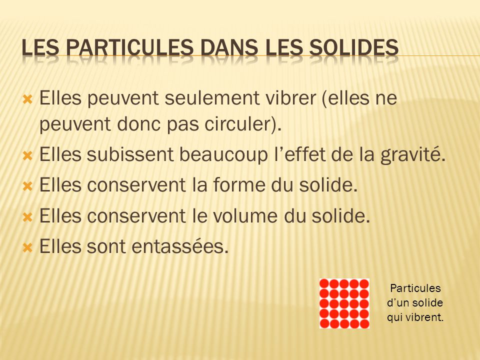 Les particules dans les solides