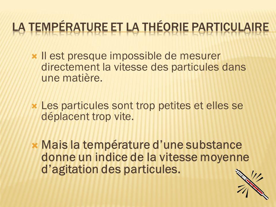 La température et la théorie particulaire