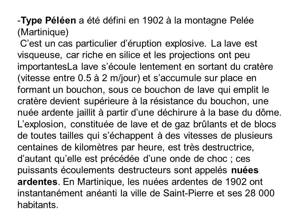 Type Péléen a été défini en 1902 à la montagne Pelée (Martinique) C'est un cas particulier d'éruption explosive.