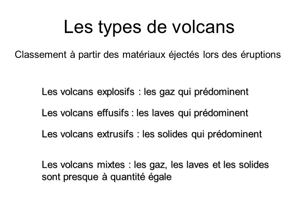Les types de volcans Classement à partir des matériaux éjectés lors des éruptions. Les volcans explosifs : les gaz qui prédominent.