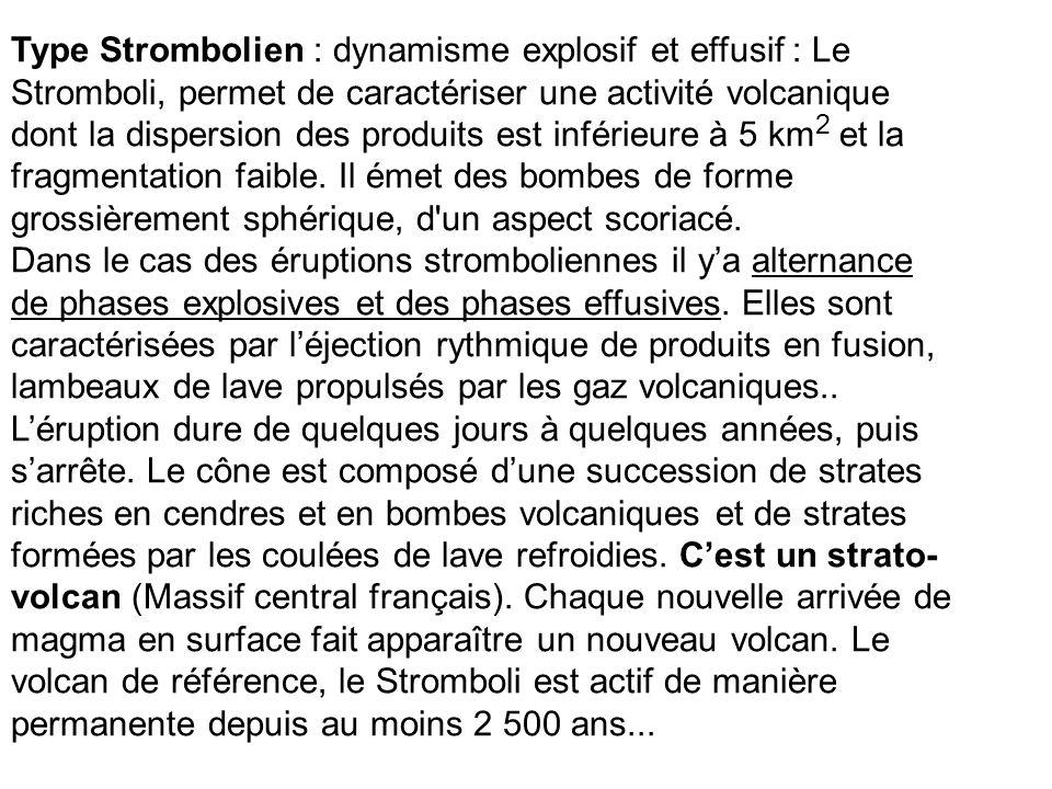Type Strombolien : dynamisme explosif et effusif : Le Stromboli, permet de caractériser une activité volcanique dont la dispersion des produits est inférieure à 5 km2 et la fragmentation faible. Il émet des bombes de forme grossièrement sphérique, d un aspect scoriacé.