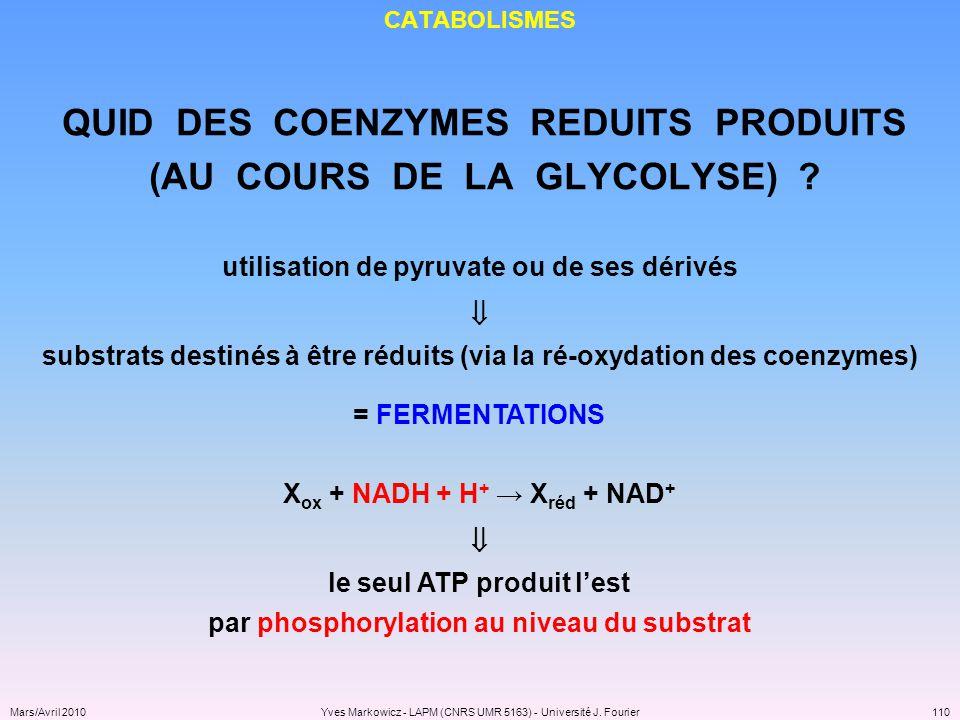 QUID DES COENZYMES REDUITS PRODUITS (AU COURS DE LA GLYCOLYSE)