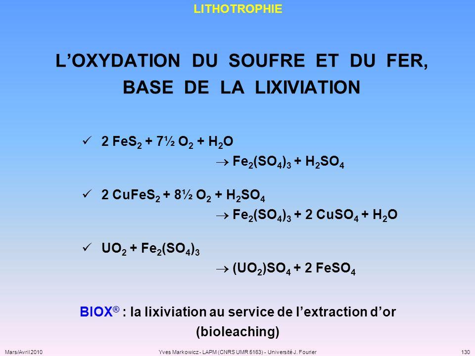 L'OXYDATION DU SOUFRE ET DU FER, BASE DE LA LIXIVIATION