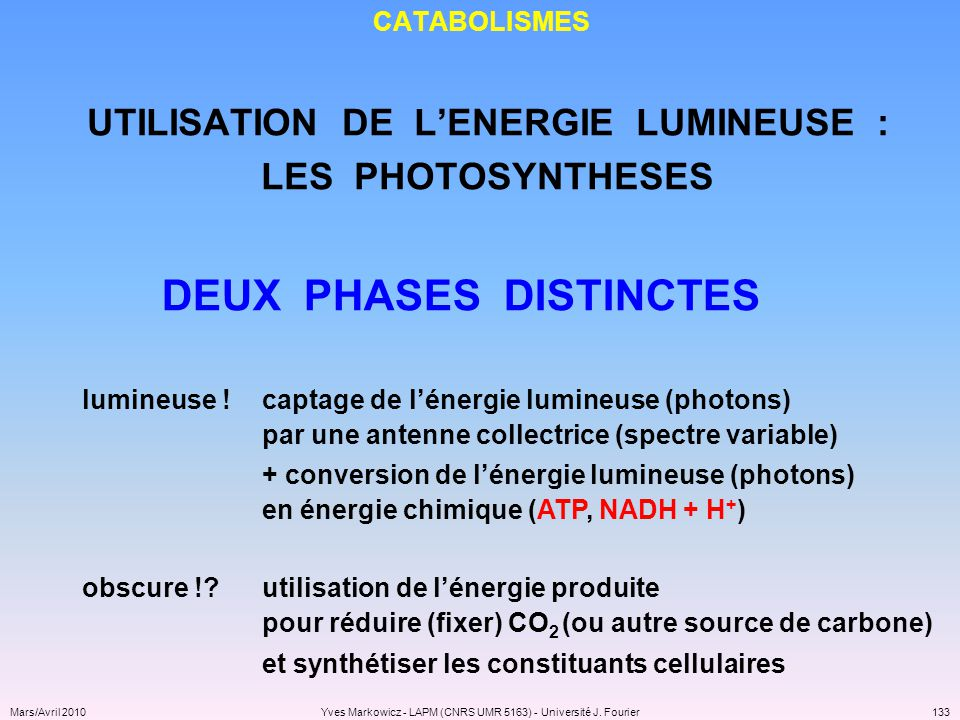 UTILISATION DE L'ENERGIE LUMINEUSE : DEUX PHASES DISTINCTES