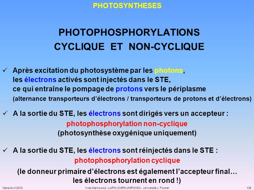 PHOTOPHOSPHORYLATIONS CYCLIQUE ET NON-CYCLIQUE