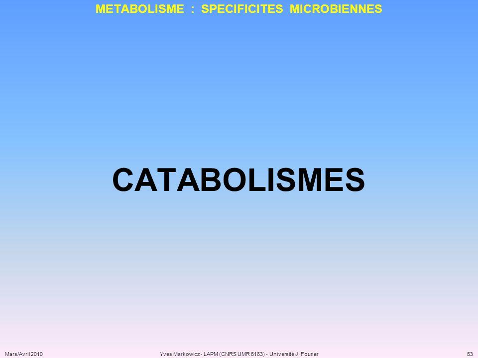 METABOLISME : SPECIFICITES MICROBIENNES
