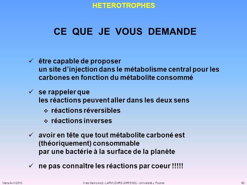 Yves Markowicz - LAPM (CNRS UMR 5163) - Université J. Fourier