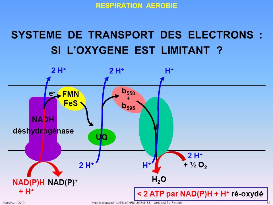 SYSTEME DE TRANSPORT DES ELECTRONS : SI L'OXYGENE EST LIMITANT