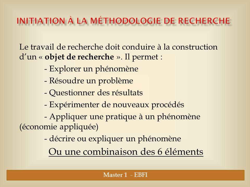 Initiation à la Méthodologie de Recherche