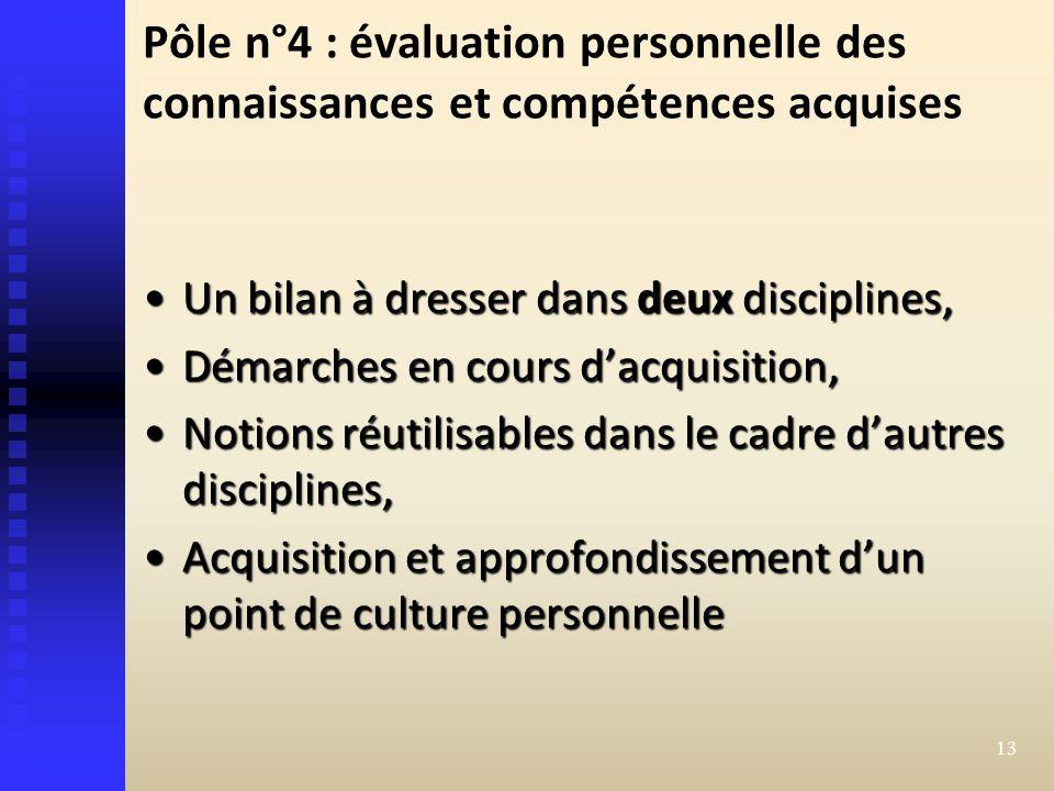 Pôle n°4 : évaluation personnelle des connaissances et compétences acquises