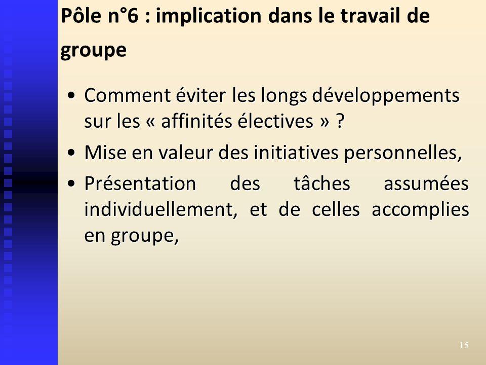 Pôle n°6 : implication dans le travail de groupe