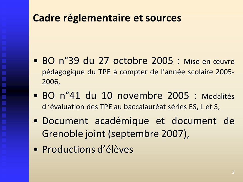 Cadre réglementaire et sources