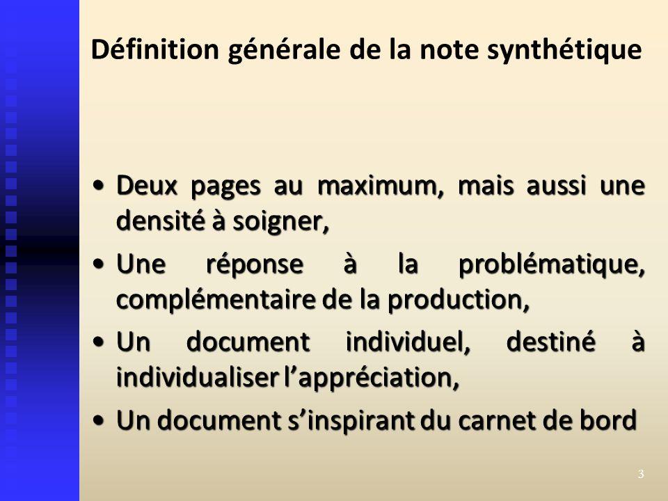 Définition générale de la note synthétique