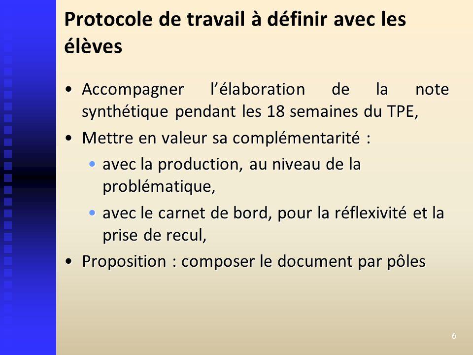 Protocole de travail à définir avec les élèves