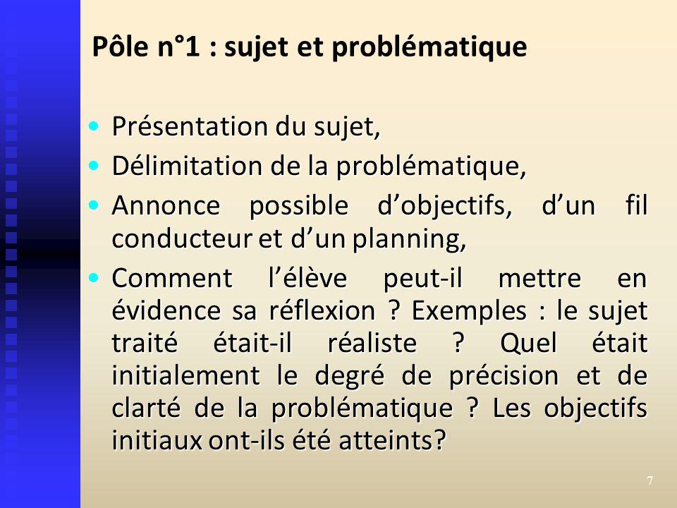Pôle n°1 : sujet et problématique