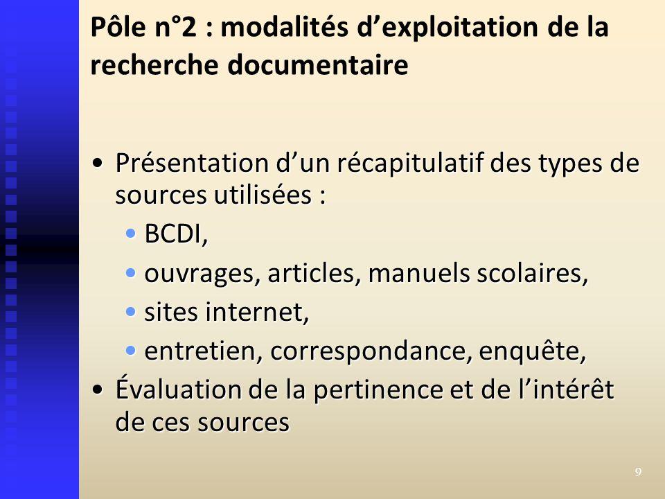 Pôle n°2 : modalités d'exploitation de la recherche documentaire