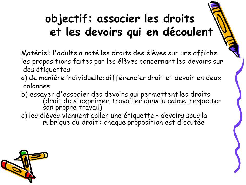 objectif: associer les droits et les devoirs qui en découlent