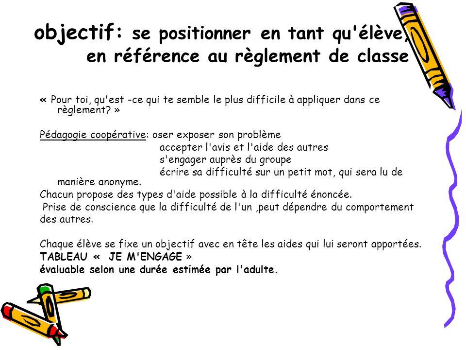 objectif: se positionner en tant qu élève, en référence au règlement de classe