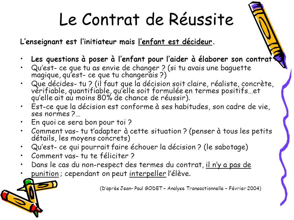 Le Contrat de Réussite L'enseignant est l'initiateur mais l'enfant est décideur.