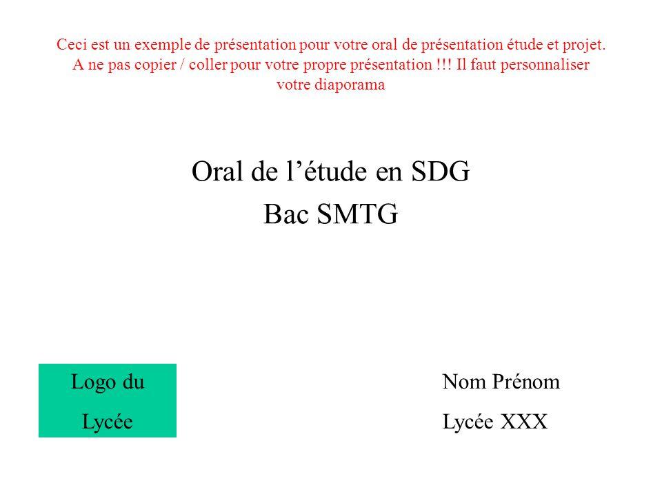 Oral de l'étude en SDG Bac SMTG