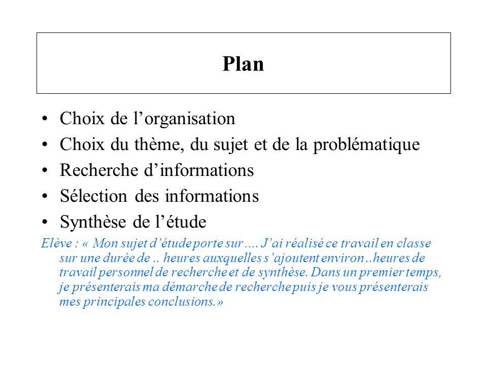 Plan Choix de l'organisation