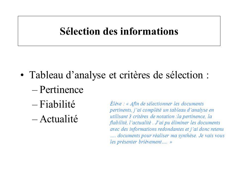 Sélection des informations