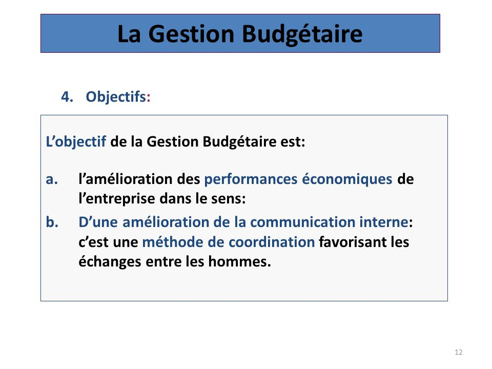 La Gestion Budgétaire Objectifs: