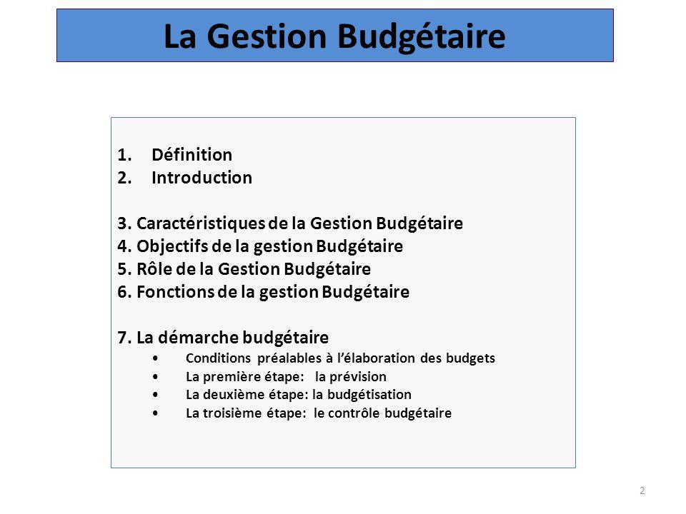 La Gestion Budgétaire Définition Introduction