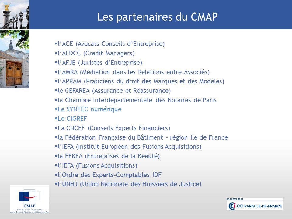 Centre de m diation et d arbitrage de paris cmap ppt video online t l charger - Chambre professionnelle de la mediation et de la negociation ...