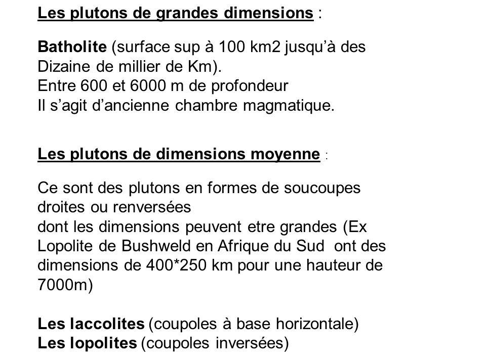 Les plutons de grandes dimensions :