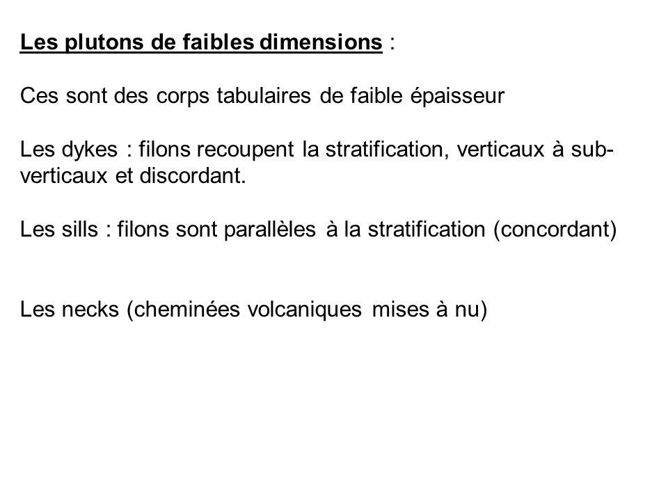 Les plutons de faibles dimensions :