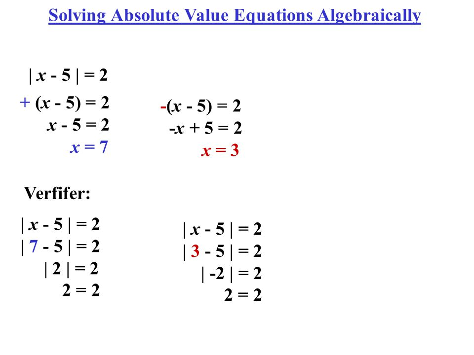 how to solve absolute equation algebraically