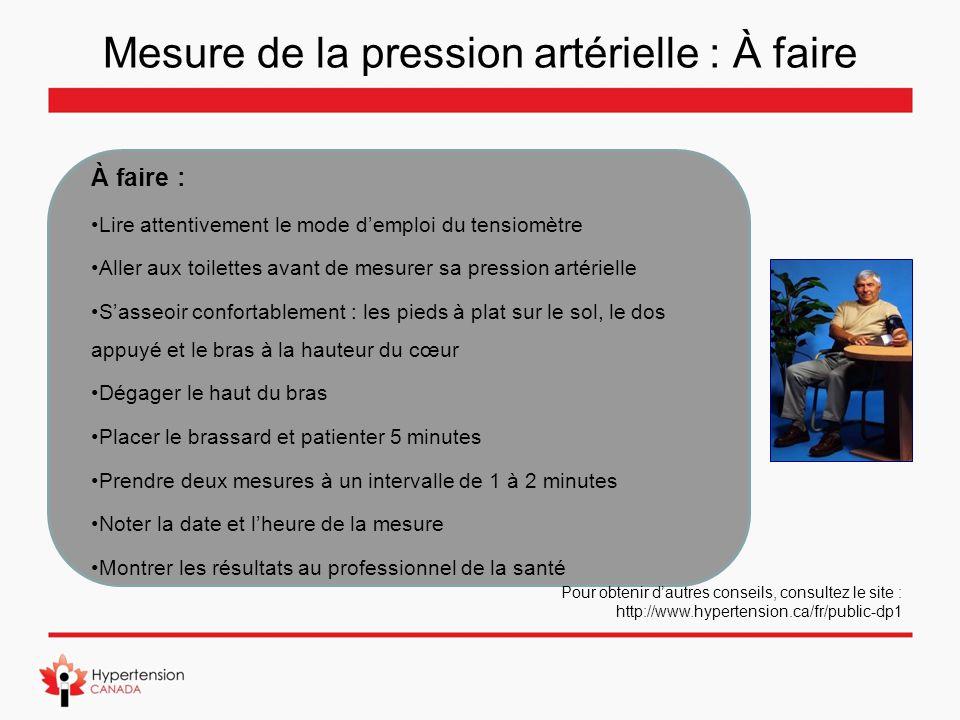Mesure de la pression artérielle : À faire