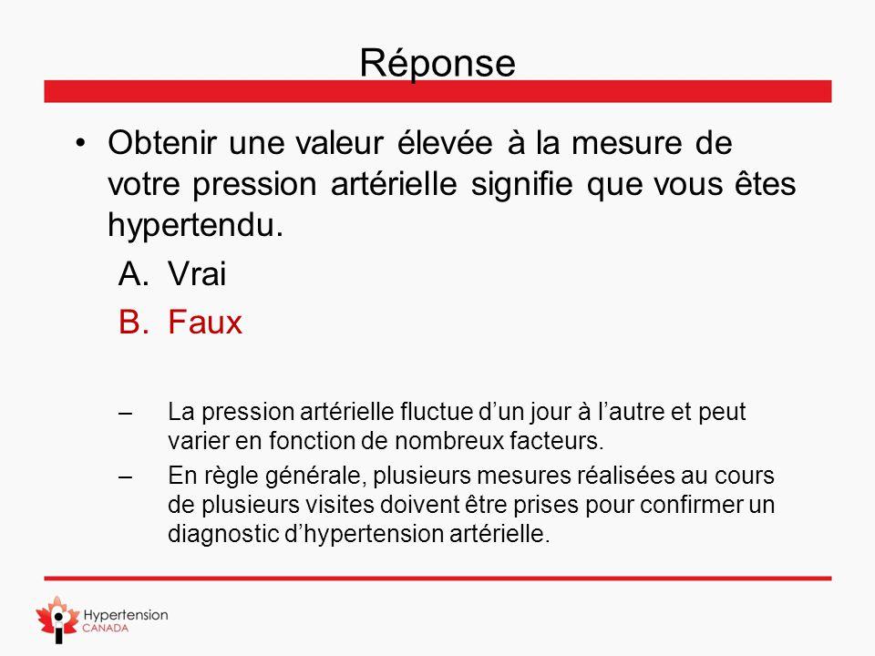 Réponse Obtenir une valeur élevée à la mesure de votre pression artérielle signifie que vous êtes hypertendu.
